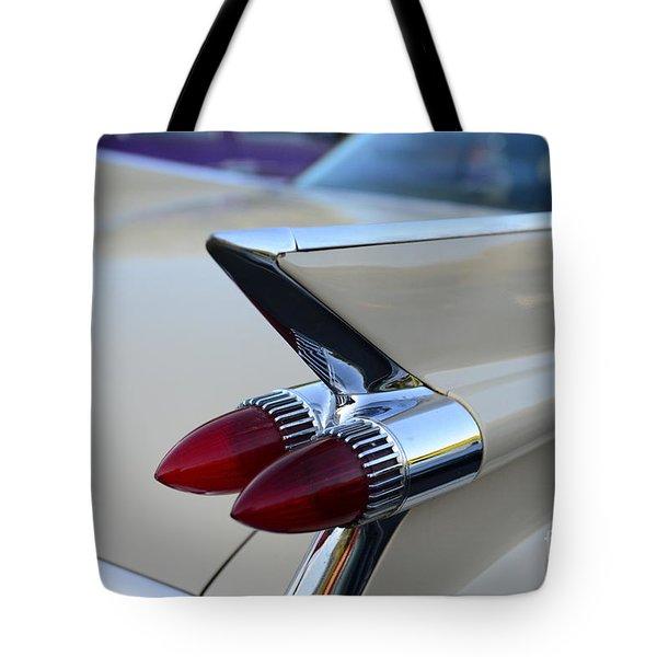 1958 Cadillac Tail Lights Tote Bag by Paul Ward