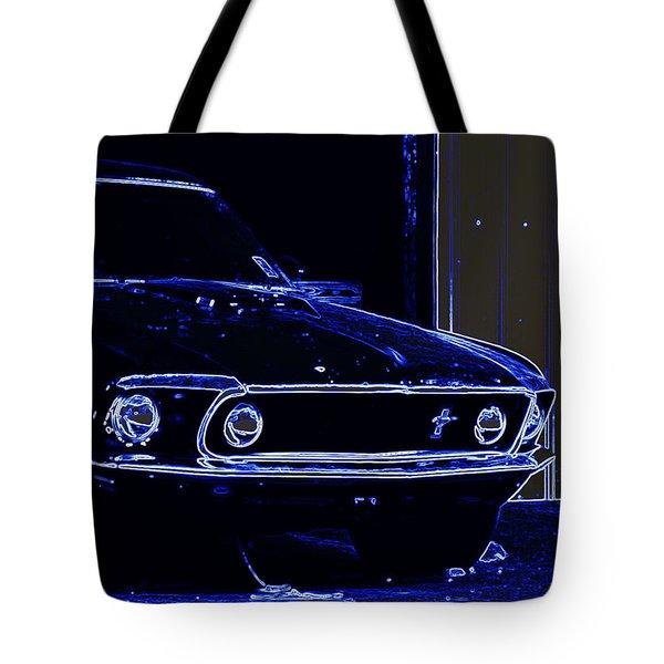 1969 Mustang In Neon Tote Bag by Susan Bordelon