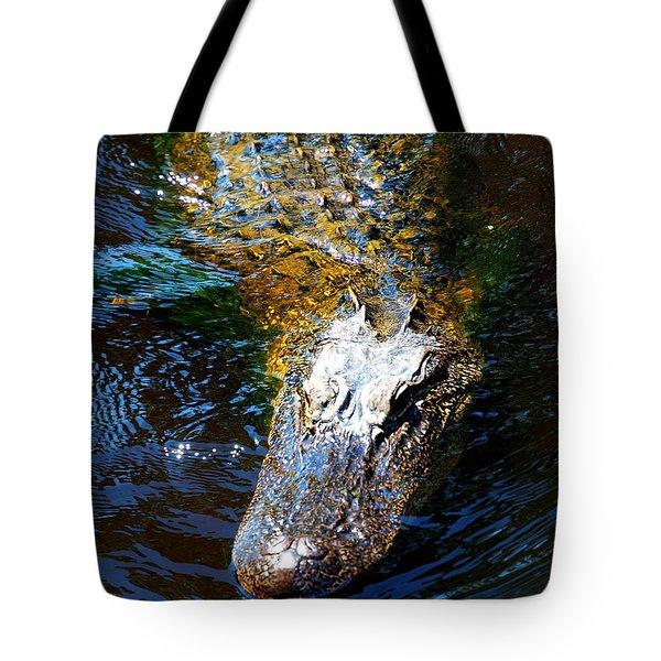 Alligator In Mississippi River Tote Bag by Paul Ge