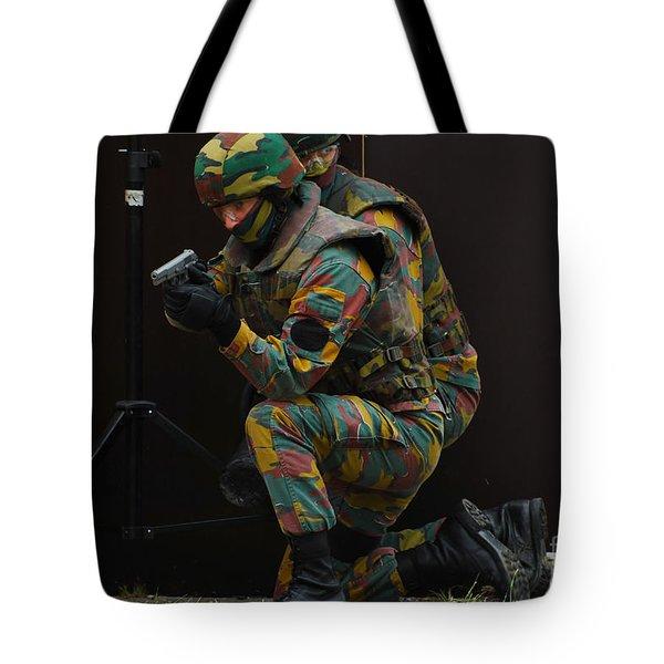 Belgian Paracommandos Entering Tote Bag by Luc De Jaeger