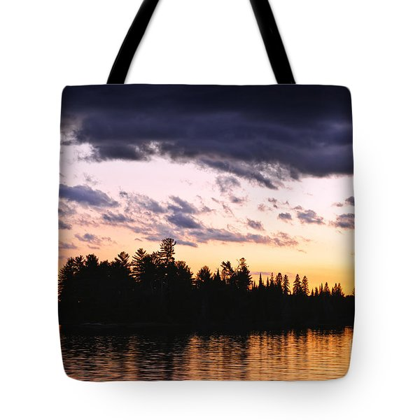 Dramatic Sunset At Lake Tote Bag by Elena Elisseeva