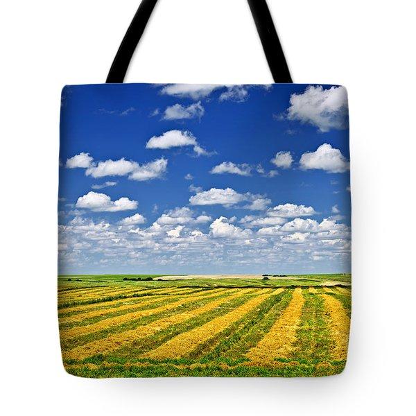 Farm field at harvest in Saskatchewan Tote Bag by Elena Elisseeva