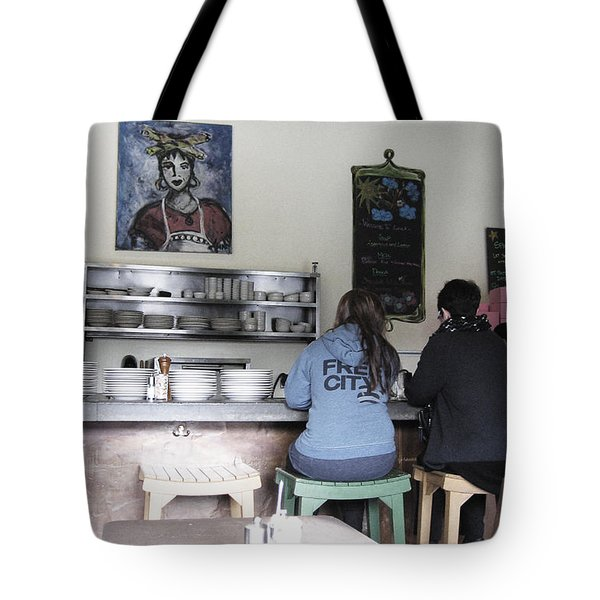 2 Girls At The Bakery Bar Tote Bag by Kym Backland