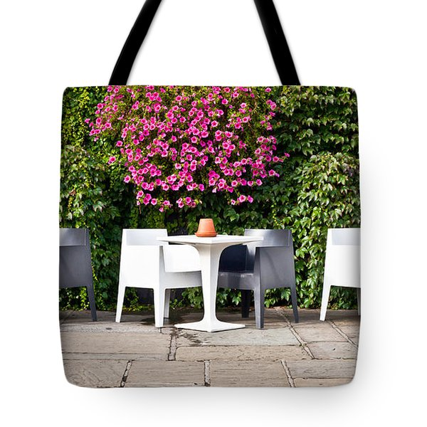 Outdoor cafe Tote Bag by Tom Gowanlock