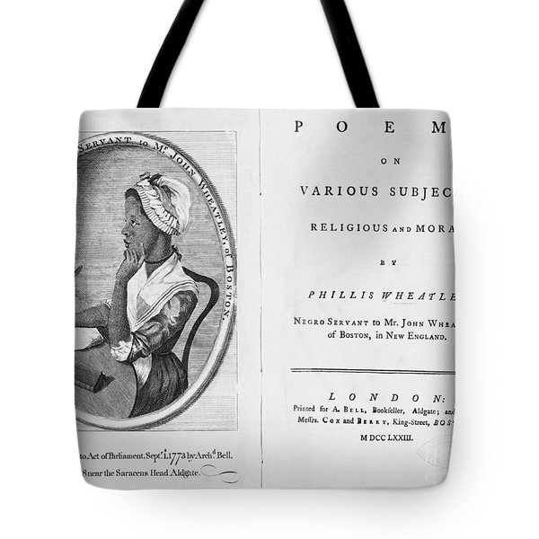 Phillis Wheatley, African-american Poet Tote Bag by Photo Researchers