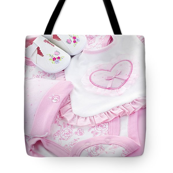 Pink baby clothes for infant girl Tote Bag by Elena Elisseeva
