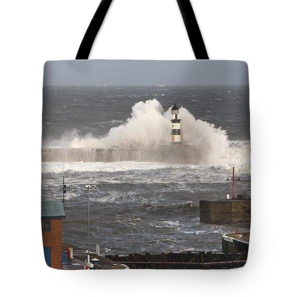 Seaham, Teesside, England Waves Tote Bag by John Short
