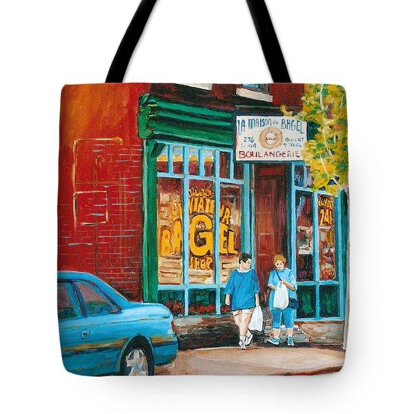 St. Viateur Bagel Shop Tote Bag by Carole Spandau
