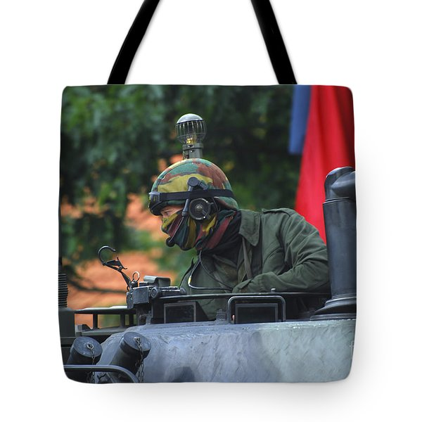 Tank Commander Of A Leopard 1a5 Mbt Tote Bag by Luc De Jaeger