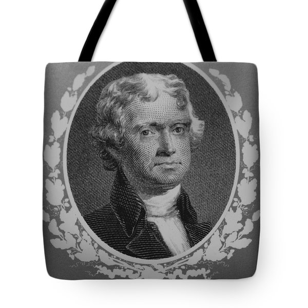 Thomas Jefferson In Black And White Tote Bag by Rob Hans