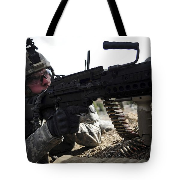 U.s. Army Soldier Provides Security Tote Bag by Stocktrek Images