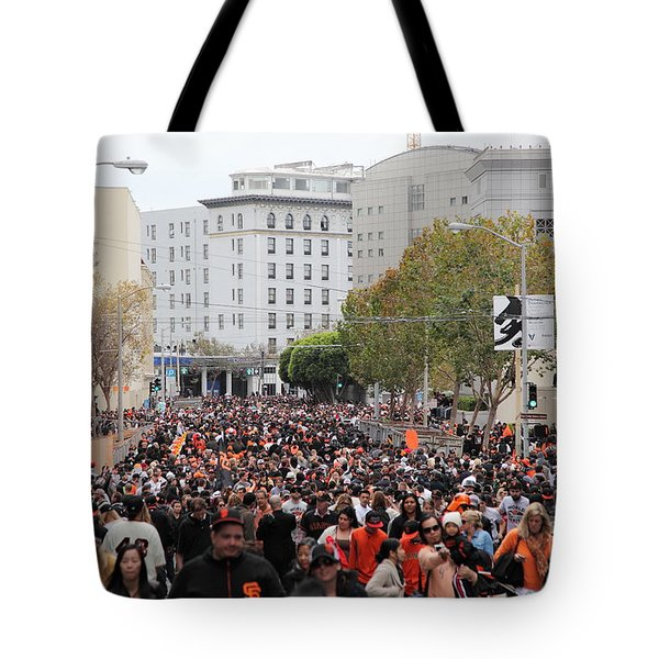 2012 San Francisco Giants World Series Champions Parade Crowd - Dpp0001 Tote Bag by Wingsdomain Art and Photography