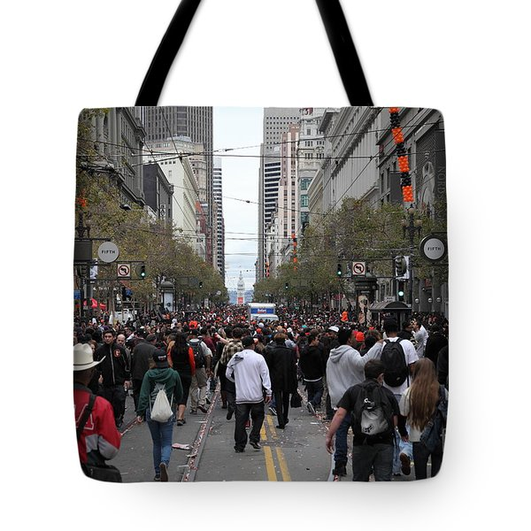 2012 San Francisco Giants World Series Champions Parade Crowd - DPP0002 Tote Bag by Wingsdomain Art and Photography