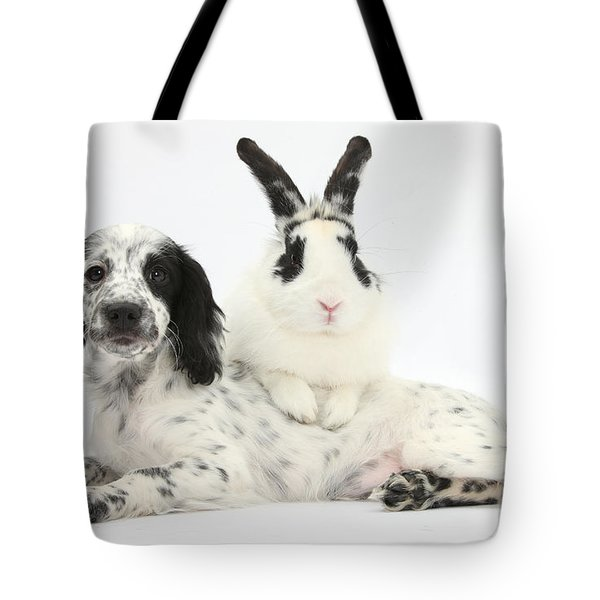 Puppy And Rabbit Tote Bag by Mark Taylor