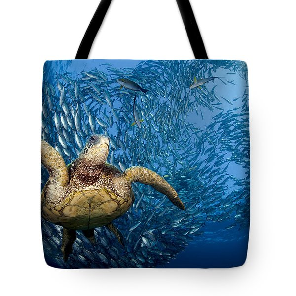Green Sea Turtle Tote Bag by Dave Fleetham