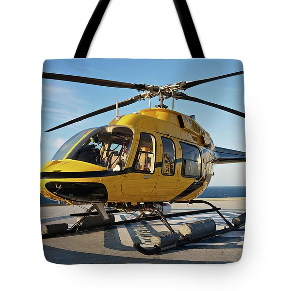 A Bell 407 Utility Helicopter Tote Bag by Terry Moore