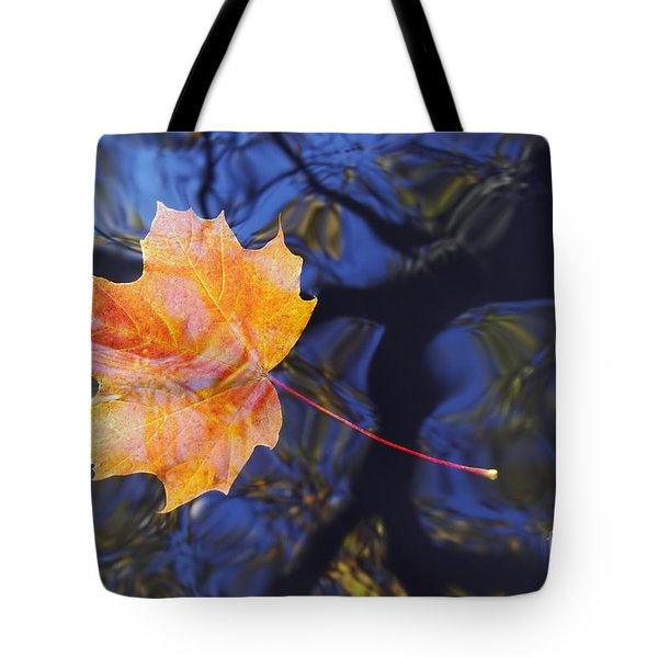 Autumn Leaf On The Water Tote Bag by Michal Boubin