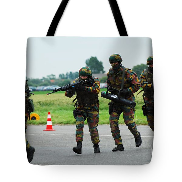 Belgian Paracommandos Entering Tote Bag by Luc De Jaeger