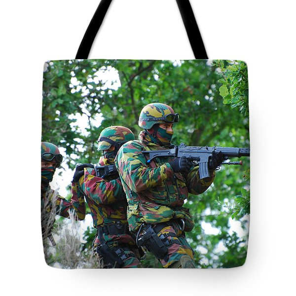 Belgian Paratroopers Proceeding Tote Bag by Luc De Jaeger