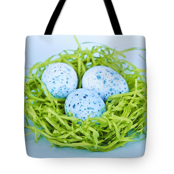 Blue Easter eggs  Tote Bag by Elena Elisseeva