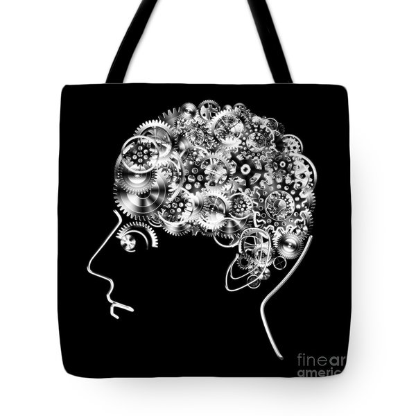 Brain Design By Cogs And Gears Tote Bag by Setsiri Silapasuwanchai