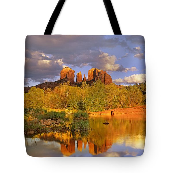 Cathedral Rock Reflected In Oak Creek Tote Bag by Tim Fitzharris