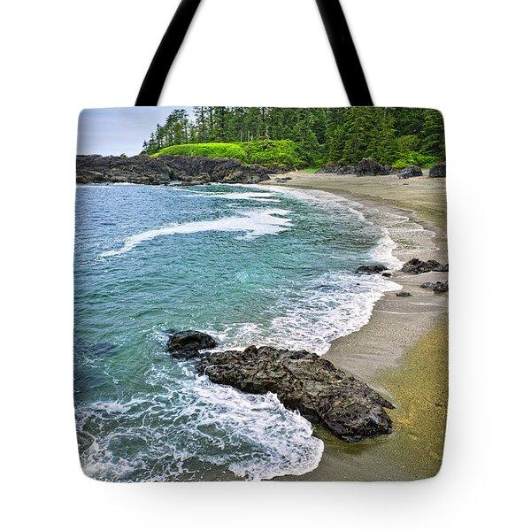 Coast Of Pacific Ocean In Canada Tote Bag by Elena Elisseeva