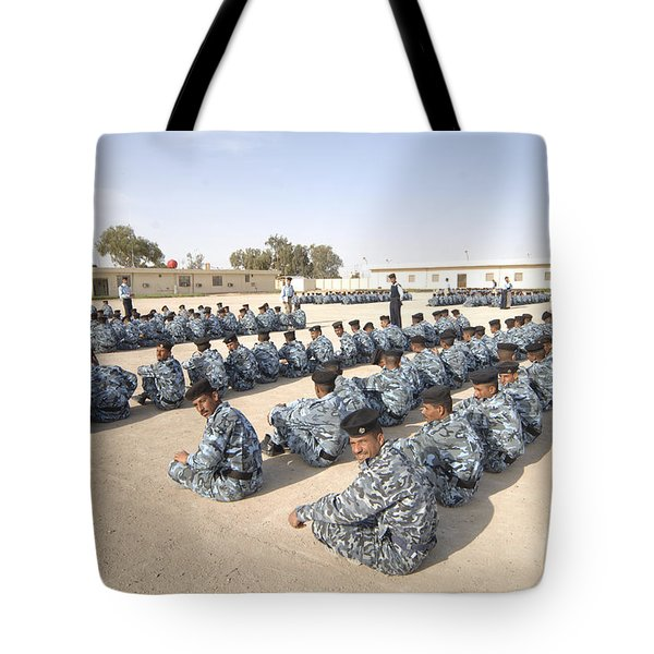 Iraqi Police Cadets Being Trained Tote Bag by Andrew Chittock