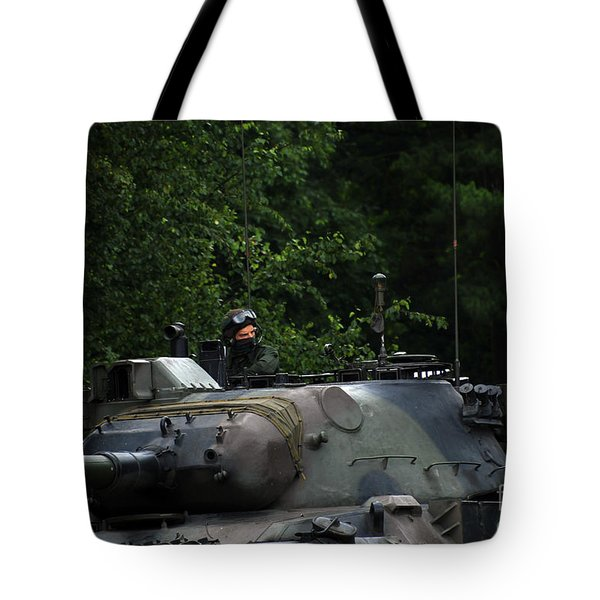 Tank Commander Of A Leopard 1a5 Mbt Tote Bag by Luc De Jaeger