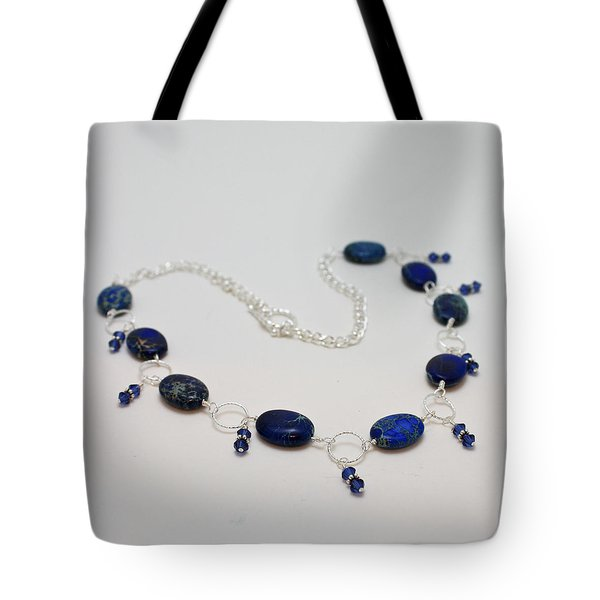 3589 Blue Sea Sediment Jasper Necklace Tote Bag by Teresa Mucha