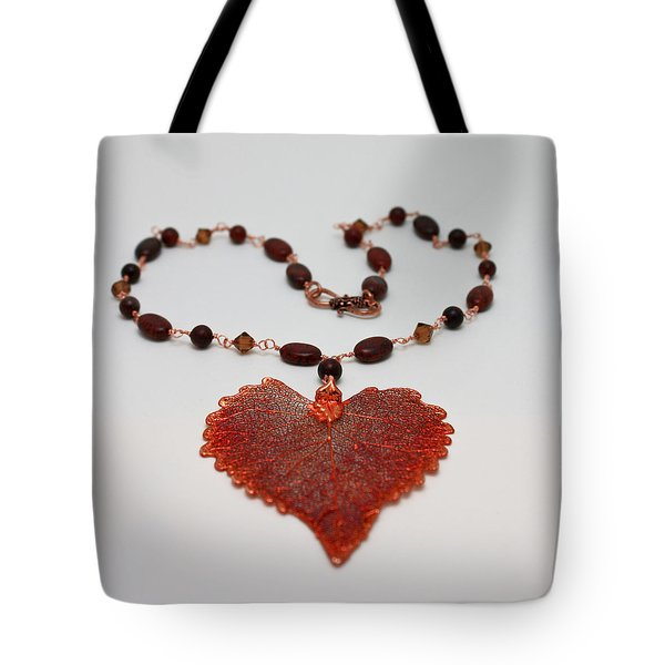 3610 Iridescent Copper Plated Cottonwood Leaf Pendant Necklace Tote Bag by Teresa Mucha