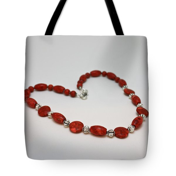 3612 Red Coral Necklace Tote Bag by Teresa Mucha