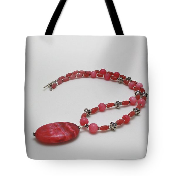 3619 Rhodonite And Bali Sterling Silver Necklace Tote Bag by Teresa Mucha