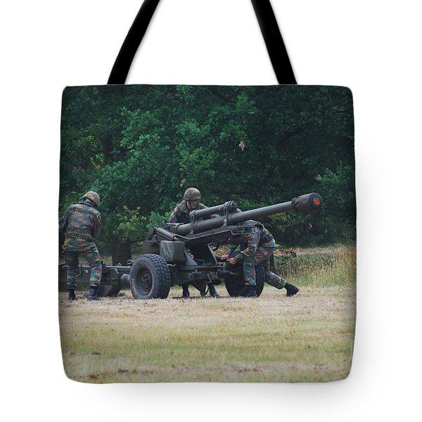 A Belgian Artillery Unit Setting Tote Bag by Luc De Jaeger