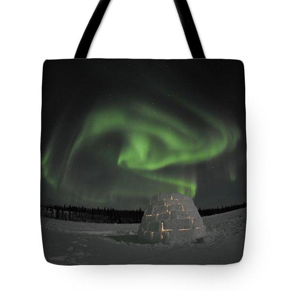 Aurora Borealis Over An Igloo On Walsh Tote Bag by Jiri Hermann