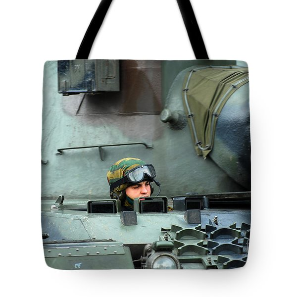 Tank Driver Of A Leopard 1a5 Mbt Tote Bag by Luc De Jaeger
