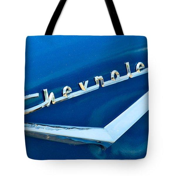 57 Chevy Bel Air Emblem Tote Bag by Mark Dodd
