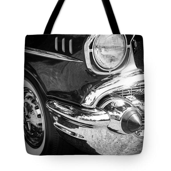 57 Chevy Black Tote Bag by Steve McKinzie