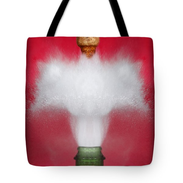 Champagne Cork Popping Tote Bag by Ted Kinsman