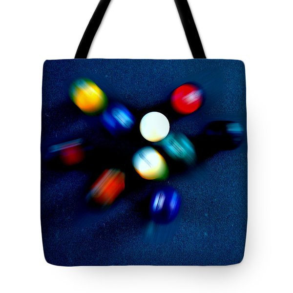 9 Ball Break Tote Bag by Nick Kloepping