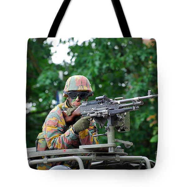 A Belgian Army Soldier Handling Tote Bag by Luc De Jaeger