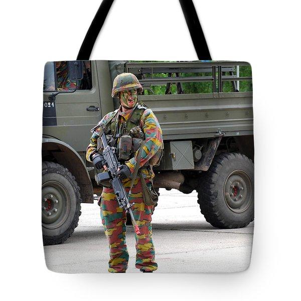 A Belgian Infantry Soldier Handling Tote Bag by Luc De Jaeger