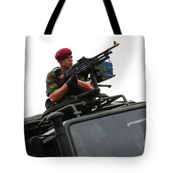 A Belgian Paratrooper Manning A Fn Mag Tote Bag by Luc De Jaeger