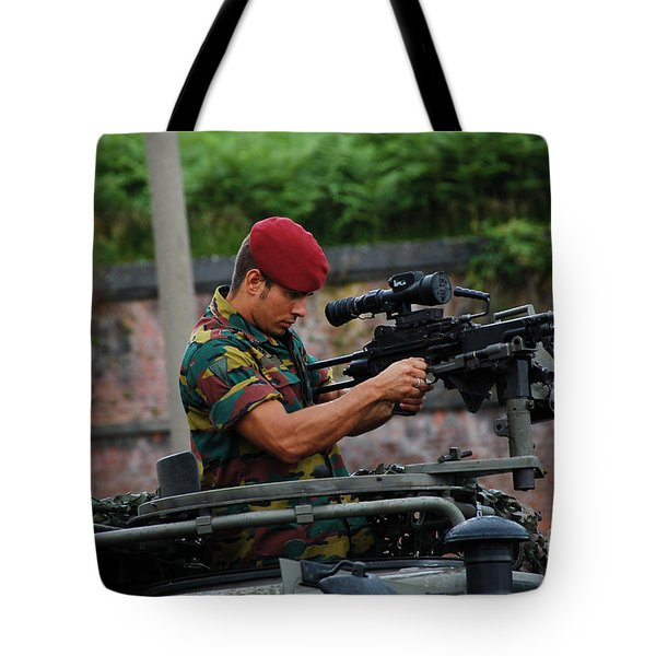 A Belgian Paratrooper Of The 1st Tote Bag by Luc De Jaeger