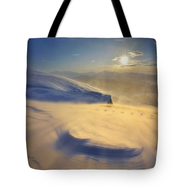 A Blizzard On Toviktinden Mountain Tote Bag by Arild Heitmann