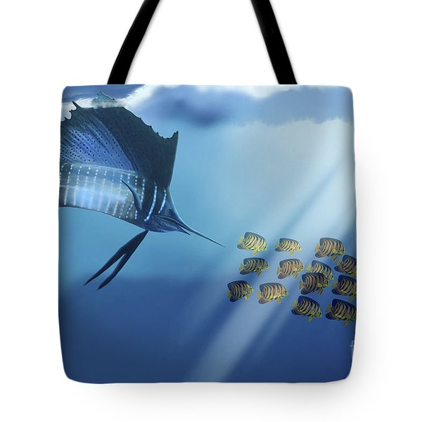 A Blue Marlin Swims After A School Tote Bag by Corey Ford