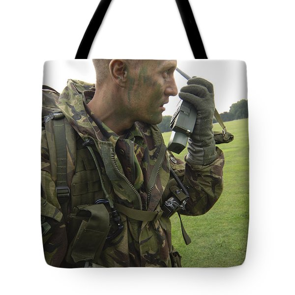 A British Army Soldier Radios Tote Bag by Andrew Chittock