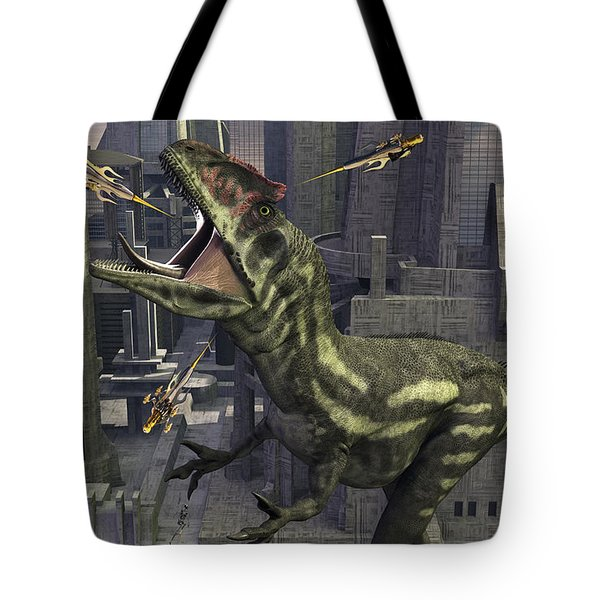 A Cloned Allosaurus Being Sedated Tote Bag by Mark Stevenson