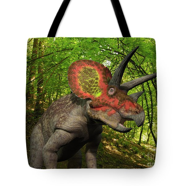 A Colorful Triceratops Wanders Tote Bag by Walter Myers