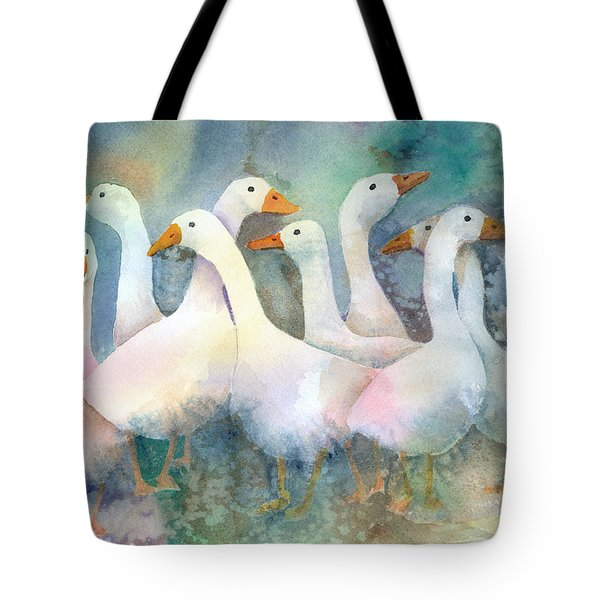 A Disorderly Group Of Geese Tote Bag by Arline Wagner